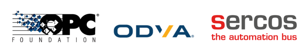 OPC, ODVA, and Sercos logos